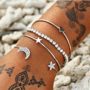 Jewelry - SILVER 4 Bracelets Set Bangle Cuff Crystal Charms